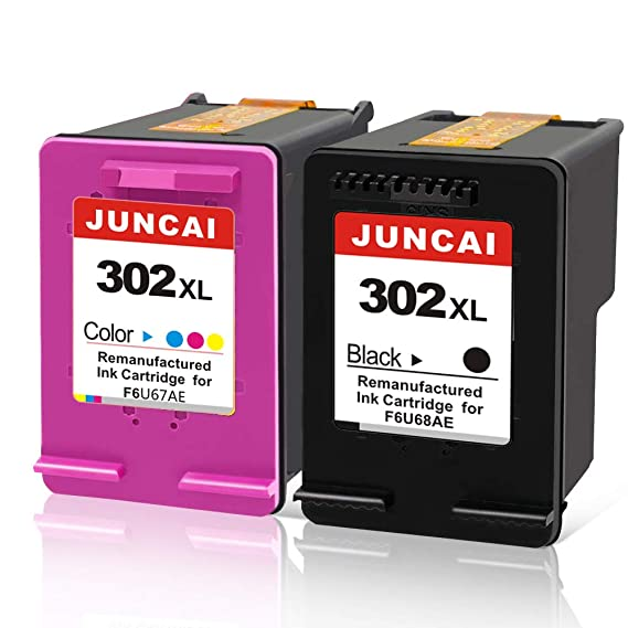 JUNCAI Reemplazo de Cartuchos de Tinta remanufacturados para HP 302 XL 302XL Compatible con HP Envy 4525 4527 4520 4528 OfficeJet 3830 3833 3831 ...