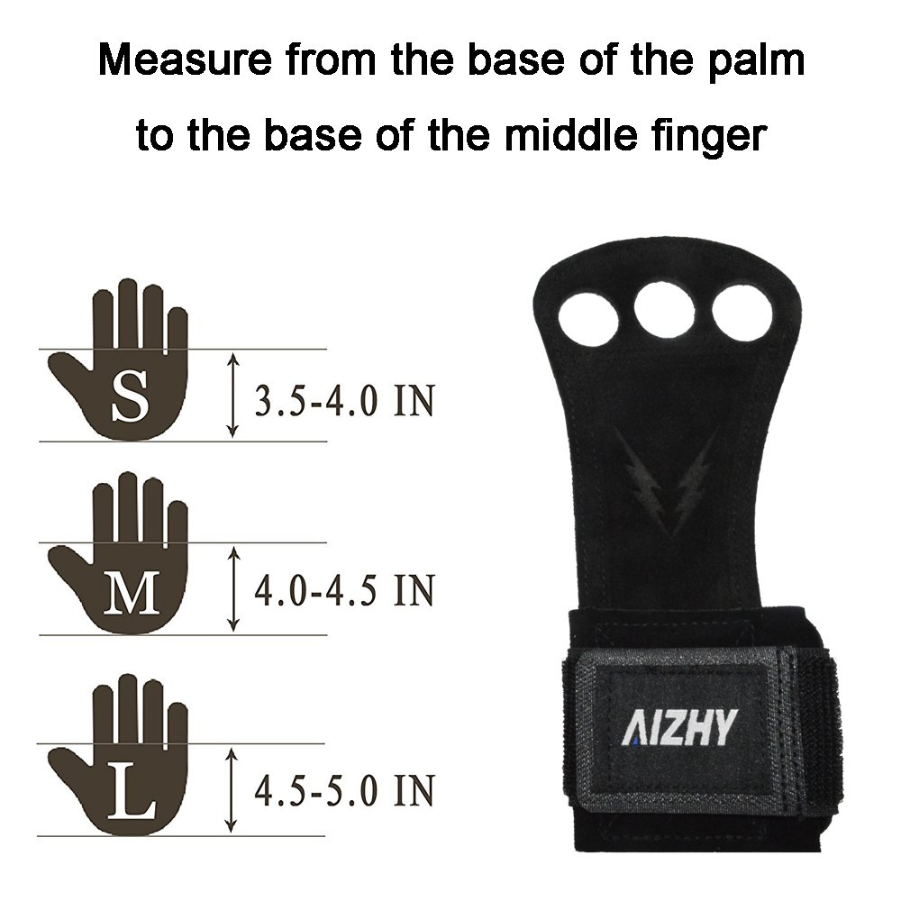 Medium, Black Exercise Pullups Weight Lifting More. Training Chin Ups Aizhy Cowhide Leather Gymnastics Grips and 3 Hole Hand Grips with Full Palm Protection for Cross Training Kettlebell