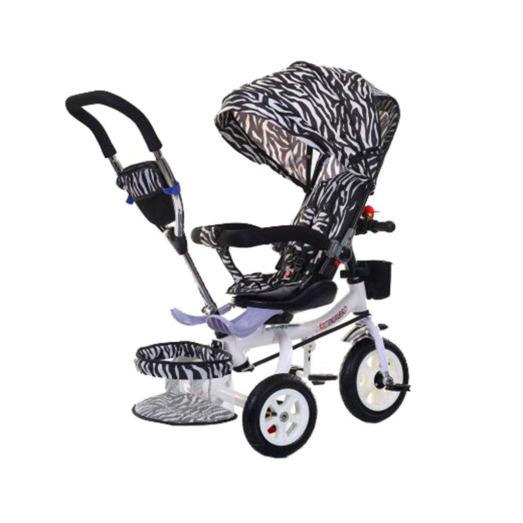 KANGR-子ども用自転車 多機能Foldable子供の三輪車キッドトロリープッシュハンドルストール自転車アンチUV天井3ホイールBike | 1-3-6歳の少年と少女のために|ロータリー席|シマウマパターン ( 色 : B型 bがた ) B07BTWX1JJB型 bがた