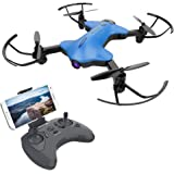 ATOYX AT-146 FPV Foldable RC Drone, 720P Wide Angle HD Camera Live Video WiFi Quadcopter With Altitude Hold Headless Mode One Key Take-Off/Landing for Beginners Kids (Blue)