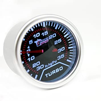 WINOMO 12V 52mm Turbo Boost Gauge Auto Car IN-HG PSI Meter (luz blanca): Amazon.es: Coche y moto