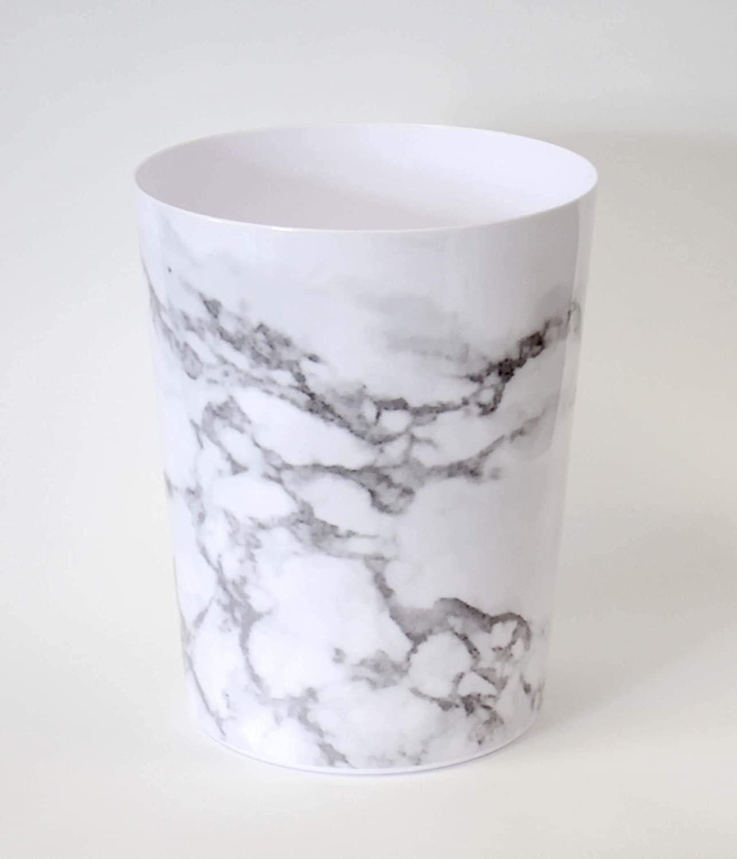 Splash Home Marble Wastebasket Trash Can, Grey, 9.75 x 7.75 x 7.75