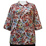 A Personal Touch Women's Plus Size Jordan Floral 3/4 Sleeve Pullover Top - 3X