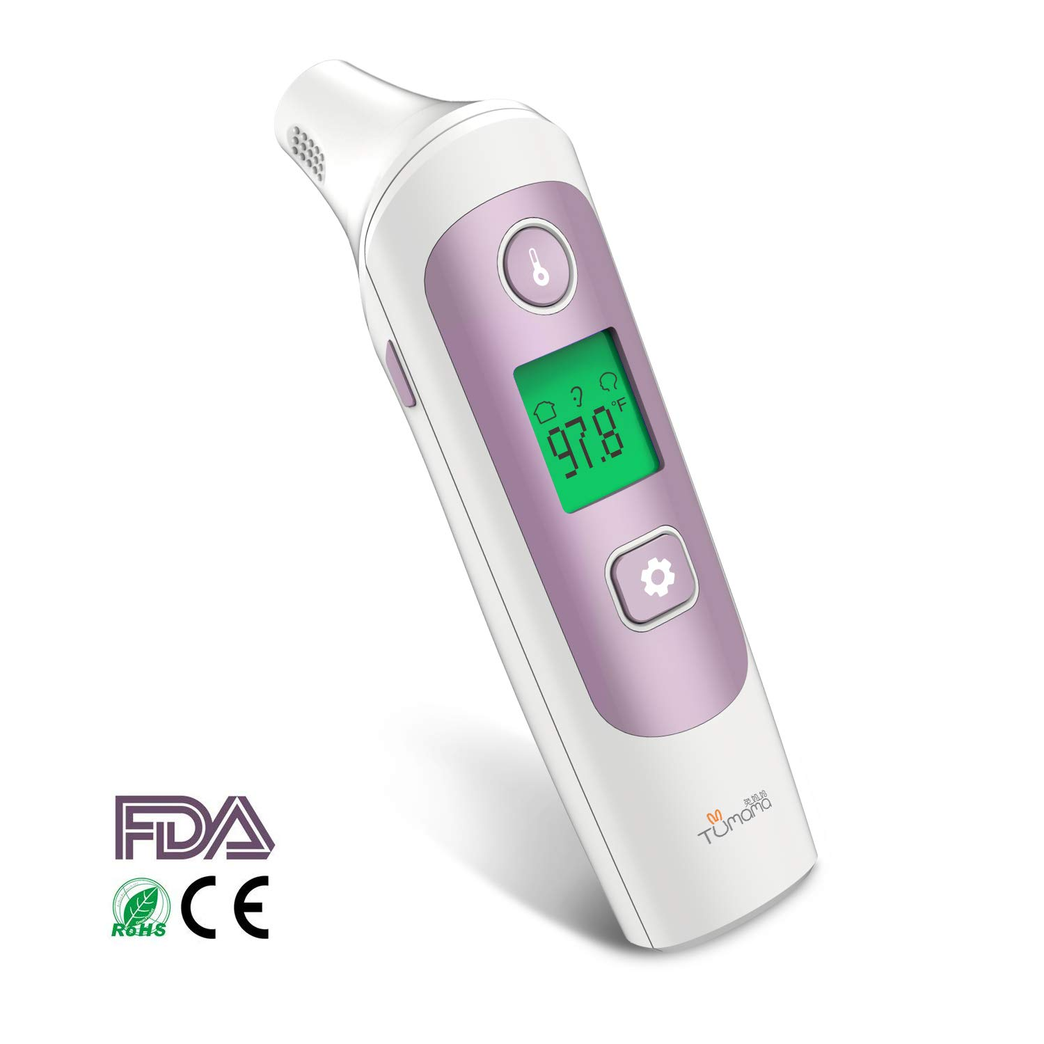 TUMAMA Baby Ear and Forehead Infrared Thermometer, Digital Medical Infrared Thermometer with 32 Memories Suitable for Baby, Infants, Toddlers, Adults, Objects with FDA and CE Approved