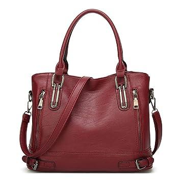 1008551cb3686 Damen Handtasche PU Leder Henkeltasche Top Griff Tasche Vintage Weiches  Umhängetasche Schultertasche für Frauen - Burgund