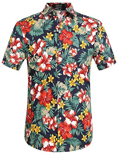 (SSLR Men's Cotton Button Down Short Sleeve Hawaiian Shirt (XX-Large, Navy (168-233)))