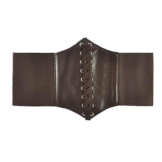 51febc425b Amazon.com  Women s Lace-up Corset Elastic Waist Belt Dark brown  Clothing