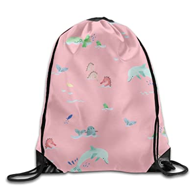 durable service Drawstring Backpack Gym Bag Travel Backpack, Cute Dolphins Sea Horses Pink, Gym Equipment Backpack For Teen Kids