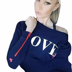Milazer Women LOVE Printing Casual Tops T-Shirt Loose Long Sleeve Blouse (M, Dark Blue)