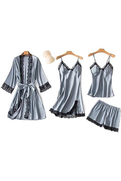 Silk and Satin Cami and Pants,Tigivemen Lace Trim Sleepwear,Silk Short Nighties,Sling Babydoll Lingerie Underwear Set
