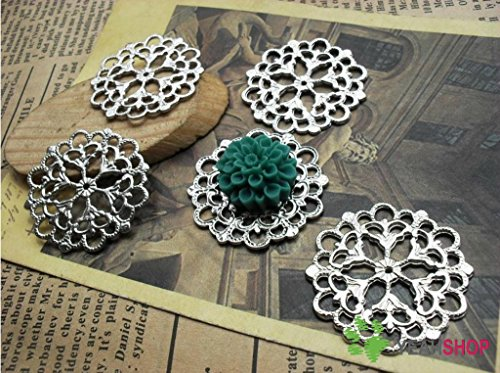 Silver Color Pendants - Flower - 28mm - 20 PCS ()