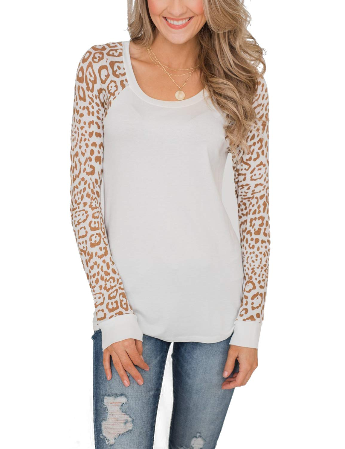 BMJL Women's Leopard Print Round Neck Shirt Raglan Sleeve Top Tee White