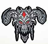 HHO Red Flame Eyes Goat Horn Master Skull Logo Outlaw MC Biker Patch Embroidered DIY Patches Cute Applique Sew Iron on Kids Craft Patch for Bags Jackets Jeans Clothes