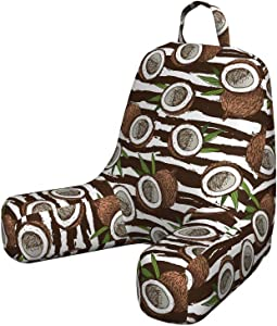 Ambesonne Tropical Reading Pillow, Coconut Palm Tree Exotic Climates Beach Ocean Island Jungle Rainforest, Padded Resting Pillow with Back Pocket and Washable Cover, Small, Brown White