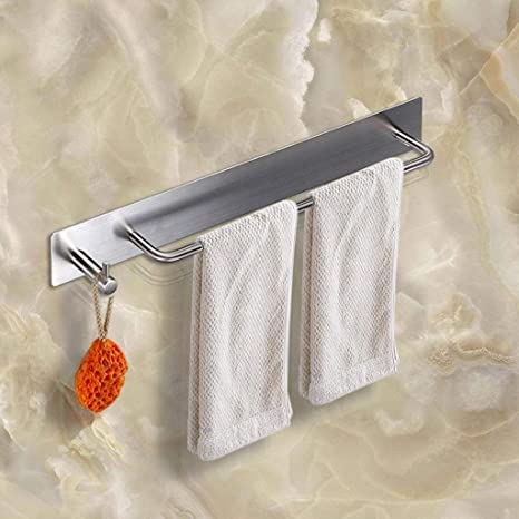 BTSKY Toallero con Colgador(304)Barra de Perchero de Toalla Acero Inoxidable Adhesivo en Pared para Baño, Hotel,Hogar