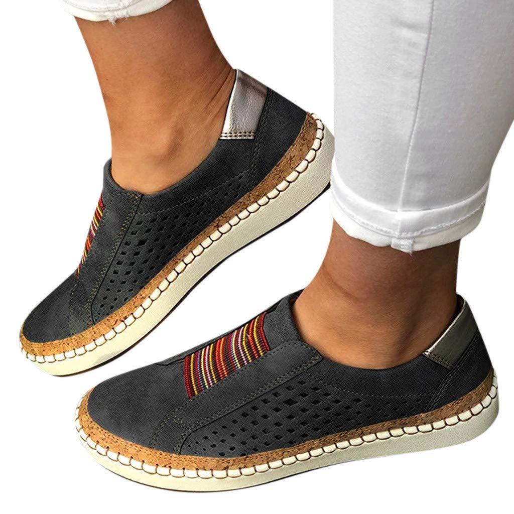 TOWAKM Baskets Femme Femmes Mode Creux-Out Casual Slip Round Toe sur Chaussures Plates avec des Baskets