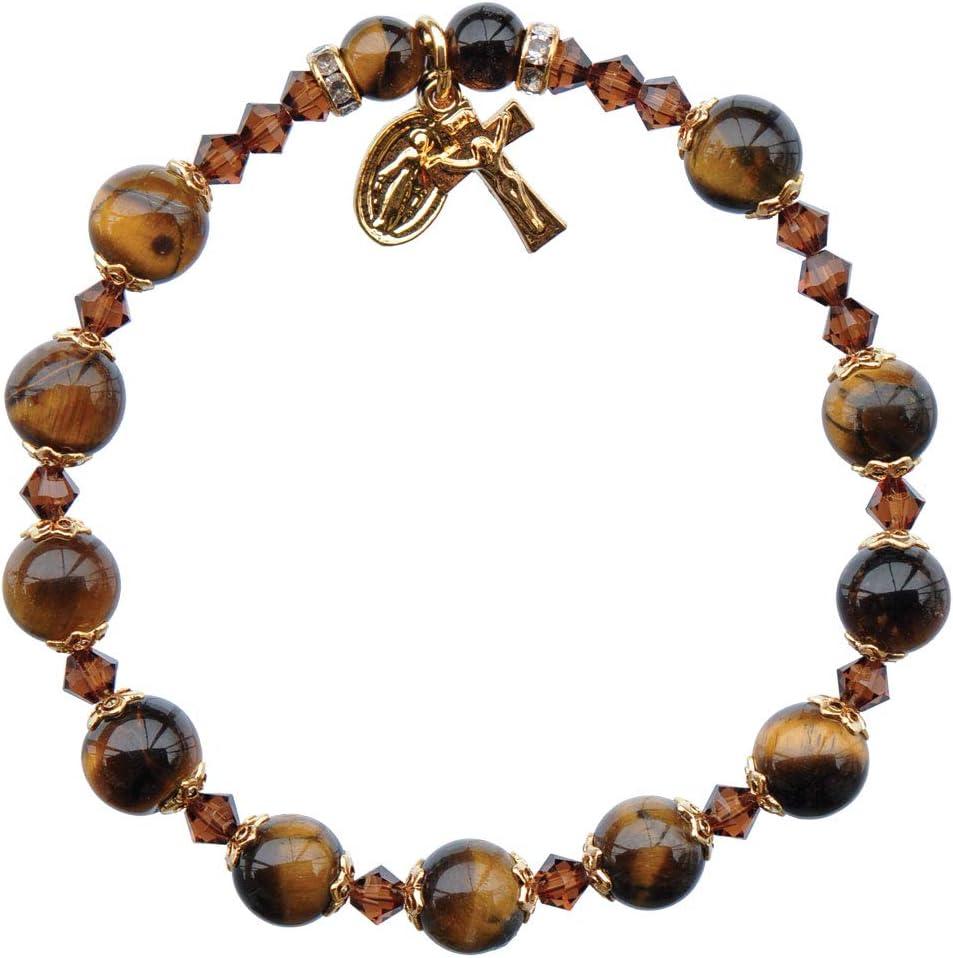 Pulsera de rosario de piedras preciosas de ojo de tigre, 8mm