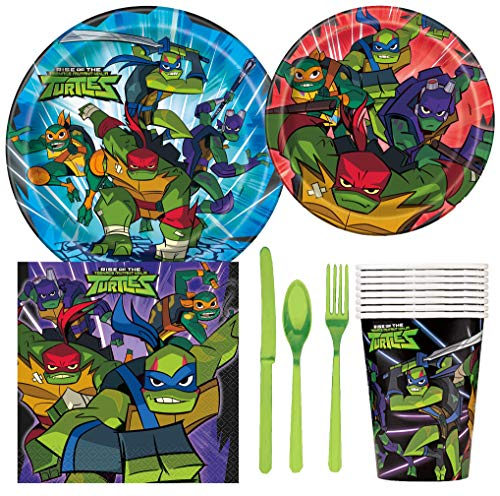 TMNT Teenage Mutant Ninja Turtles Birthday Party Supplies Pack Including Cake & Lunch Plates, Cutlery, Cups & Napkins for 8 Guests ()