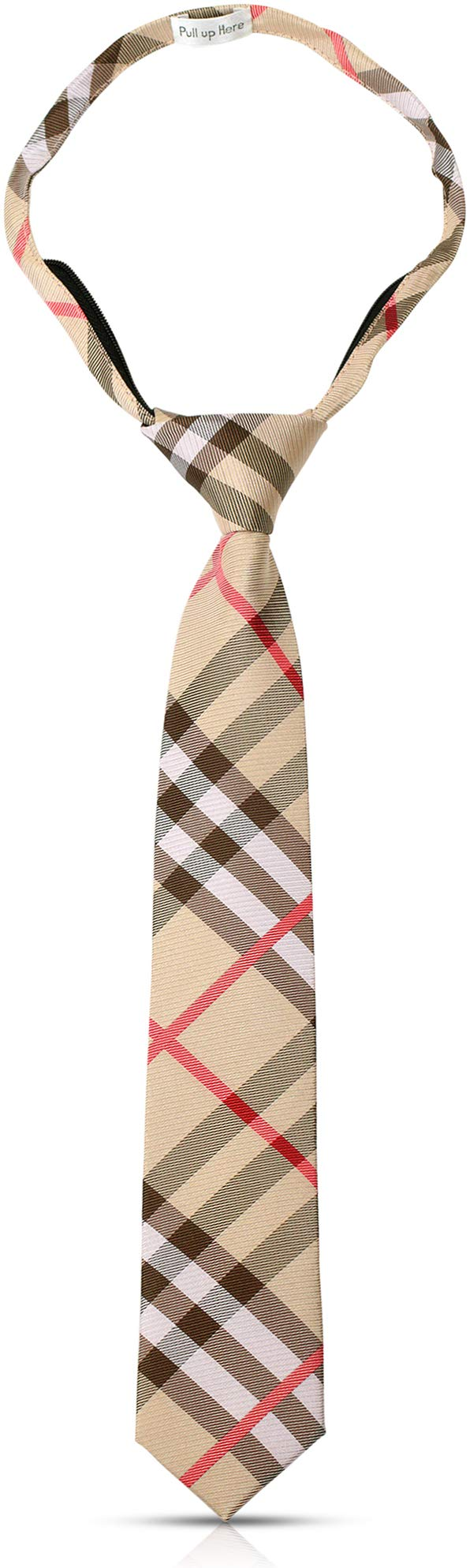 Handmade 14'' Pre Tied Plaid Zipper Brown Tan Ties For Boys Woven Boys Tie: For Kids Wedding Graduation by LUTHER PIKE SEATTLE