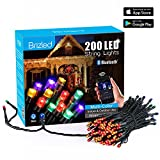 Brizled Dimmable LED String Lights, 200 LED 65ft Mini String Lights, Bluetooth LED Lights Controlled by iOS & Android Devices, Ideal for Wedding, Easter, Holidays, Party Decorations, Multi Color