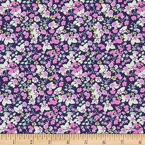 In The Beginning Fabrics Garden Delights Impatiens Fabric, Pink/Navy, Fabric By The Yard