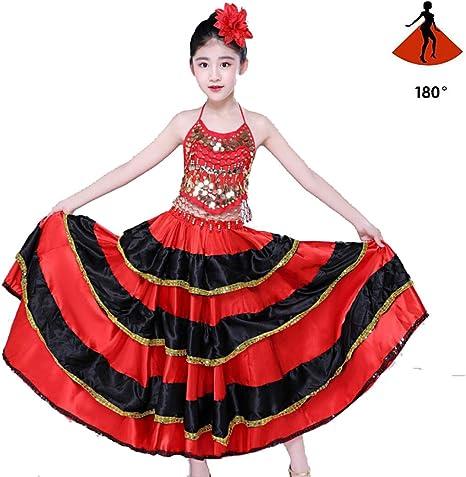 SMACO Falda Flamenca española de satén Negro Rojo sólido con Cordones Trajes de Baile Femeninos Vestido de Hija de salón de Baile de 360-720 Grados para niñas: Amazon.es: Deportes y aire libre