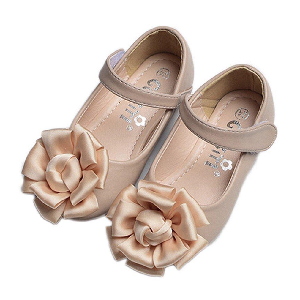 CYBLING Girl Ballet Ballerina Flats Round-Toe Flower Princess Wedding Shoes Mary Janes (Toddler/Little Kids)