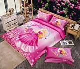 Pink Cartoon Comforter cover Frozen Duvet Cover Set Disney Bed Sheet Cotton Girl Bedding Set Comforter Cover+flat Sheet+pillowcase