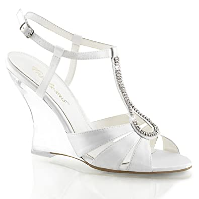 99c49ba592 Summitfashions Womens Clear and White Wedge Sandals Shoes with 4'' Heels  and Rhinestone Detail