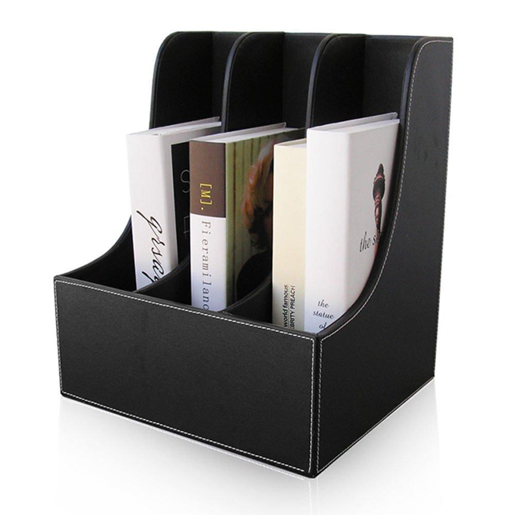KINGFOM 3-slot Desktop Filling Organizer Rack Magazine File Holder Organizer Box (3 slots-black)