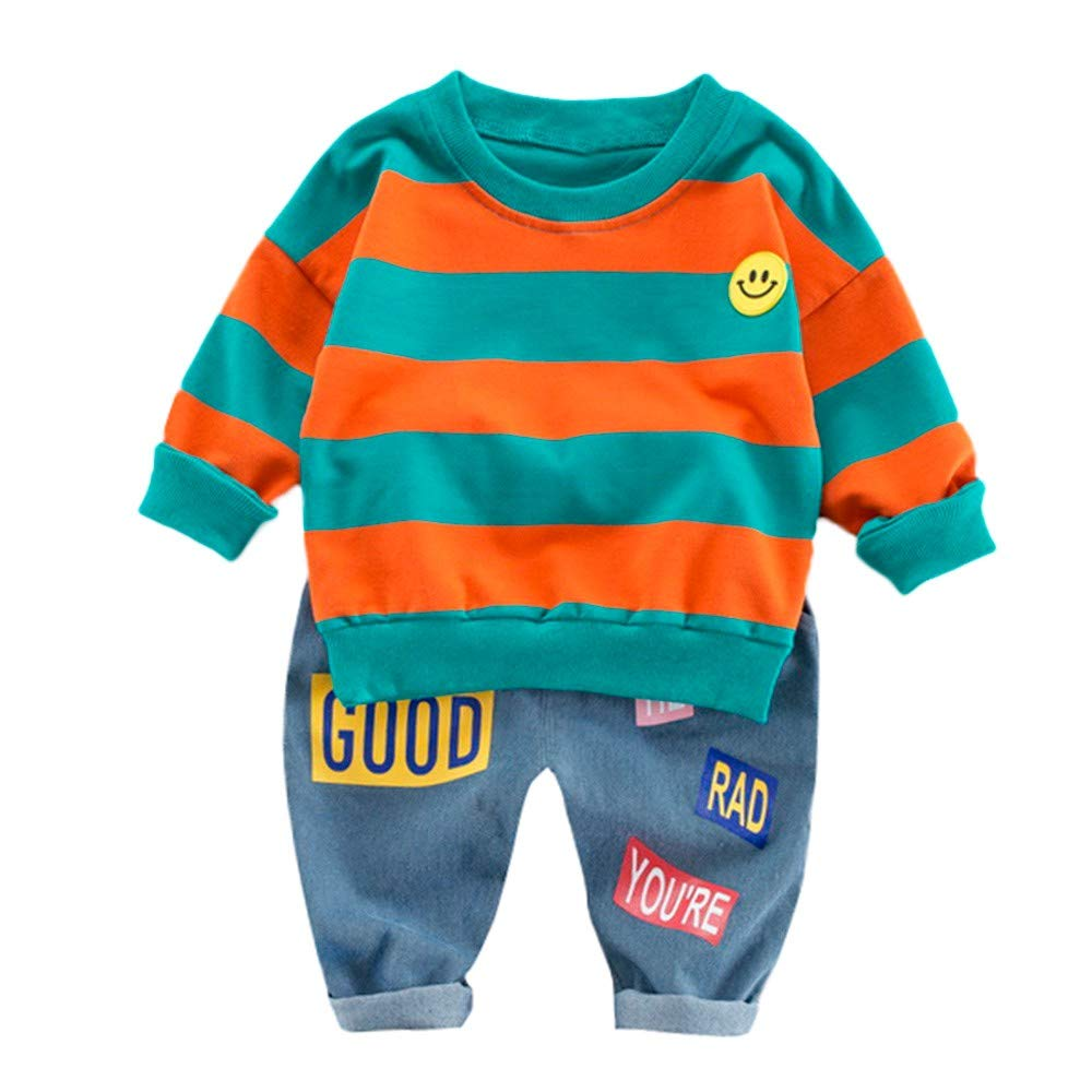 Lucoo Winter Outfits Set,Toddler Kids Baby Boys Stripe Smile Pullover Tops+Letter Print Pants Set Outfits