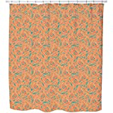 Uneekee Copper Engraving Orange Shower Curtain: Large Waterproof Luxurious Bathroom Design Woven Fabric