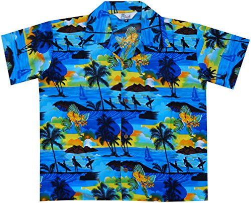 Alvish Hawaiian Shirts 43B Boys Allover Print Beach Aloha Party Camp Blue S (Hawaiian Scenic Shirt Print)