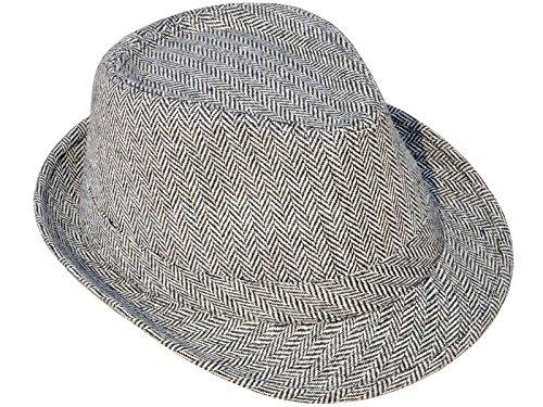 1920s Detective Costume (AshopZ Unisex Teardrop-Dent Pinstriped Short Brim Fedora Hat, Black/White2)