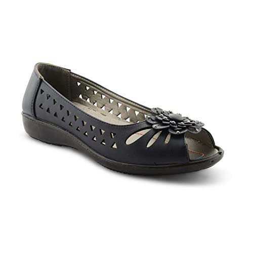 edf509b88979 New Ladies Ballet Pumps Flat Cut Out Style Peep Toe Slip On Shoes UK Sizes 3