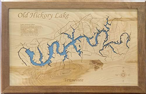 Amazon Com Old Hickory Lake Tennessee Framed Wood Map Wall Hanging Handmade