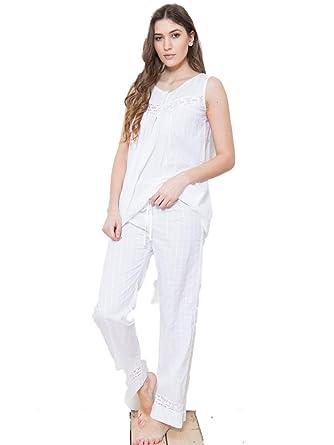 125eac291b538 Cotton Real - Ensemble de Pyjama - Femme Blanc Blanc - Blanc - X-Small
