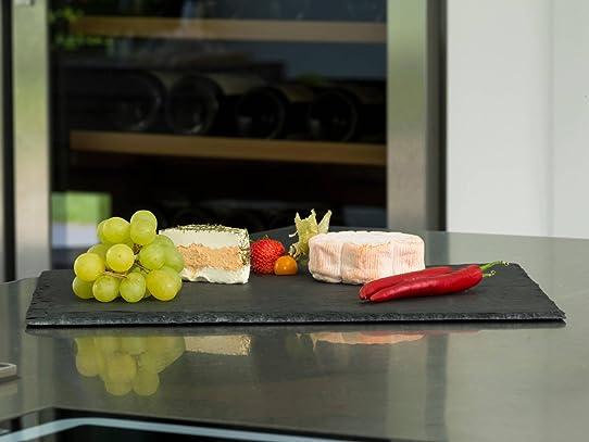 Plateau ardoise 50 x 25 cm, qualité alimentaire, avec patins en ...