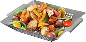 Sorbus Grill Basket - Square Grilling Basket for Vegetables - BBQ Grill Tools & Outdoor Accessories for Cooking Veggies Kabob, Fish, Meat, Shrimp, and More – Heavy Duty Stainless Steel