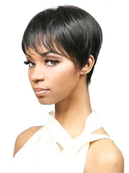 aicos Pixie Cut Trendy Straight Side Bang Negro Corto resistente al calor sintético mujer peluca