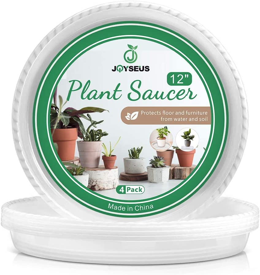 JOYSEUS Plant Saucers - 12 inch - Durable Plastic Plant Tray for Flower Pots, Clear Plant Saucer for Indoor Plants Pots & Outdoor Plants (4 Pack)