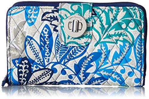 Vera Bradley Women's RFID Turnlock Wallet, Santiago, One Size - Signature Checkbook Wallet
