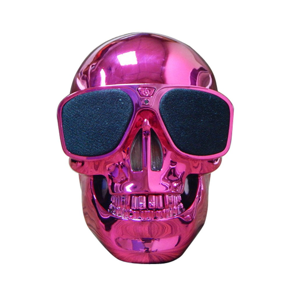 Cool Metallic Skull Robot Speaker Wireless Bluetooth Mobile Phone Subwoofer for Smartphone Android iOS Novelty Bedroom Office Desk Decoration by Saingace (Hot Pink)