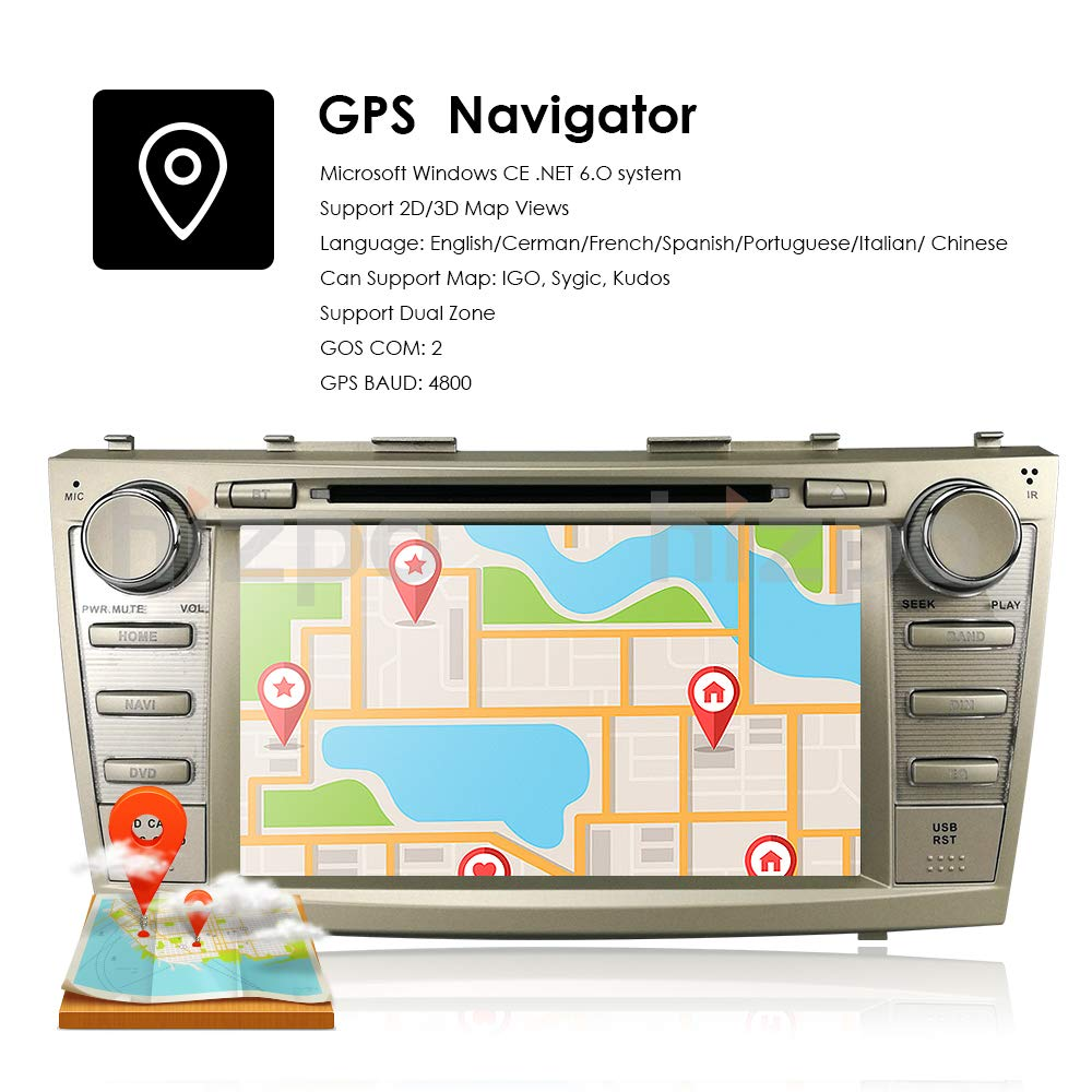 hizpo in Dash 8 Inch Double Din Touch Screen Navigation GPS Car Stereo for  for Toyota Camry 2007 2008 2009 2010 2011 AM FM Radio DVD Player Bluetooth