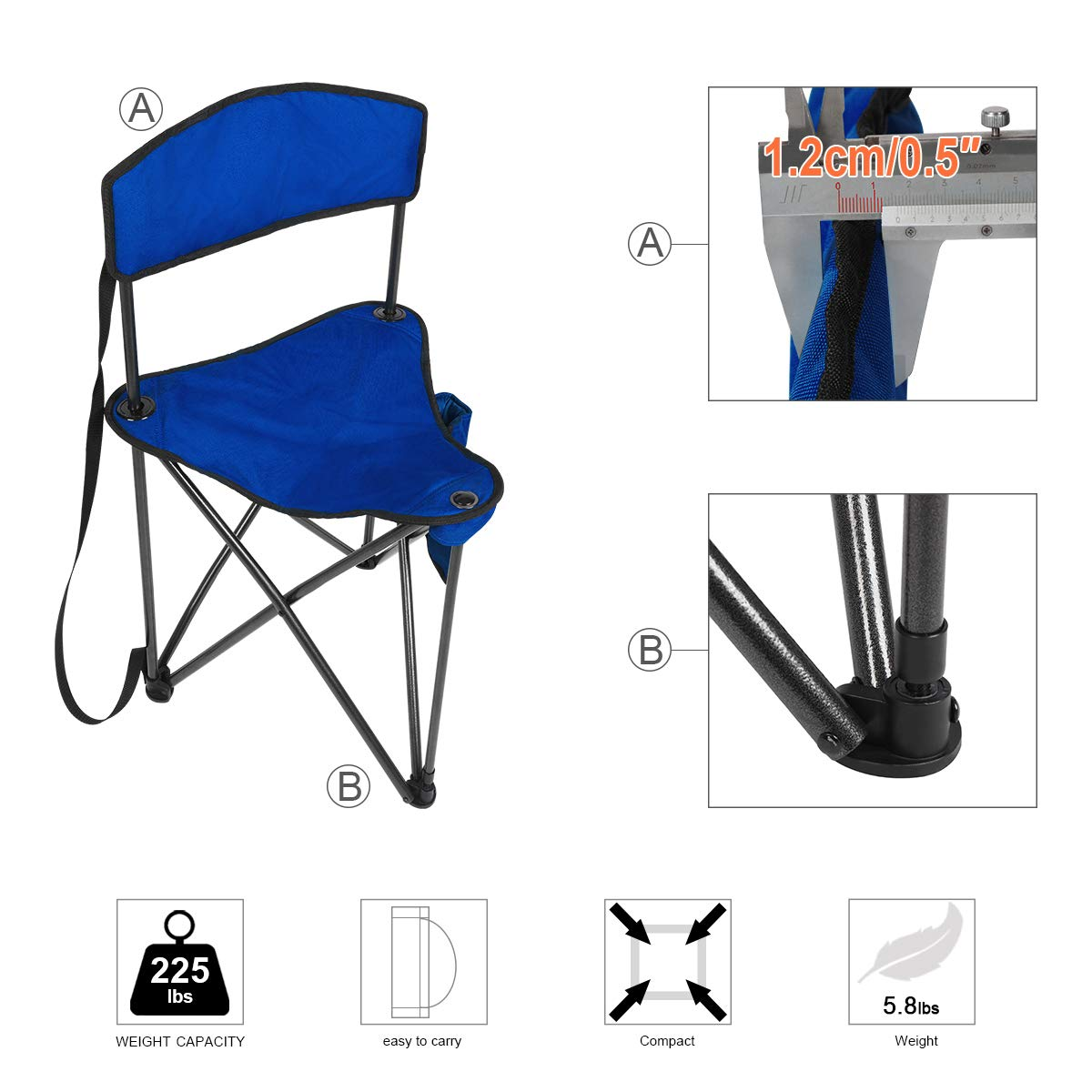 PORTAL Extra Large Quick Folding Tripod Stool with Backrest Fishing Camping Chair with Carry Strap CAMO