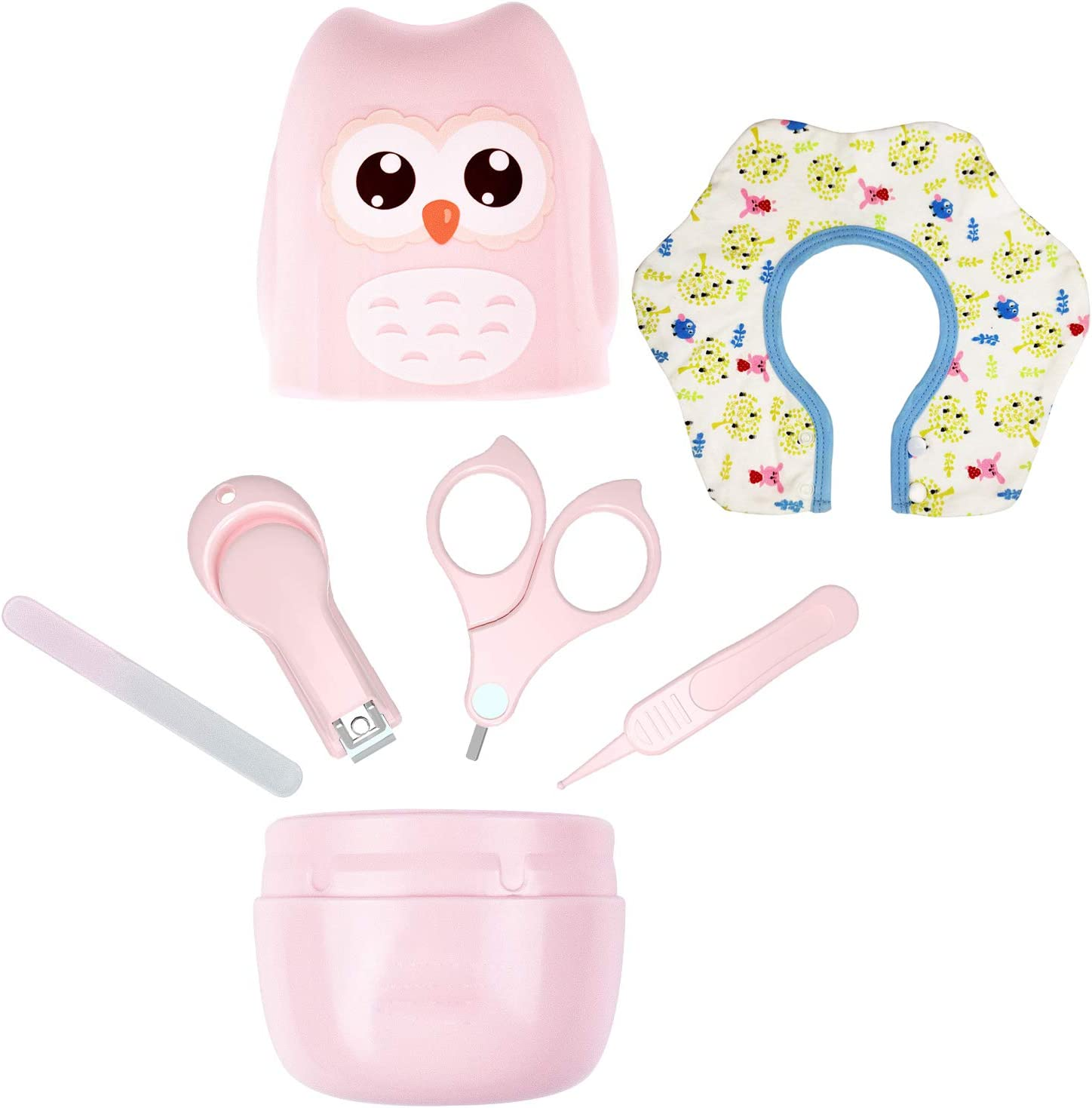 Baby Nail Kit, Choeeu 4 in 1 Baby Nail Clippers Baby Nail Care Set Cute Owl Grooming Kit - Scissor, Nail File & Tweezer, Baby Bibs, Manicure and Pedicure Kit for Newborn, Infants, Toddler (Pink/Owl)