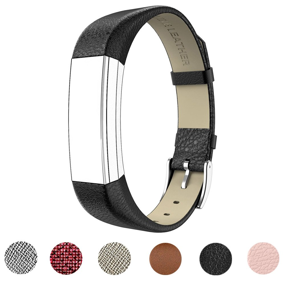 for Fitbit Alta HR and Alta Band with Metal Clasp, Premium Soft Genuine Leather Wristband Strap Replacement Watch Band for Fitbit Alta/Fitbit Alta HR 2017/Alta HR Smart Fitness Tracker(Black)