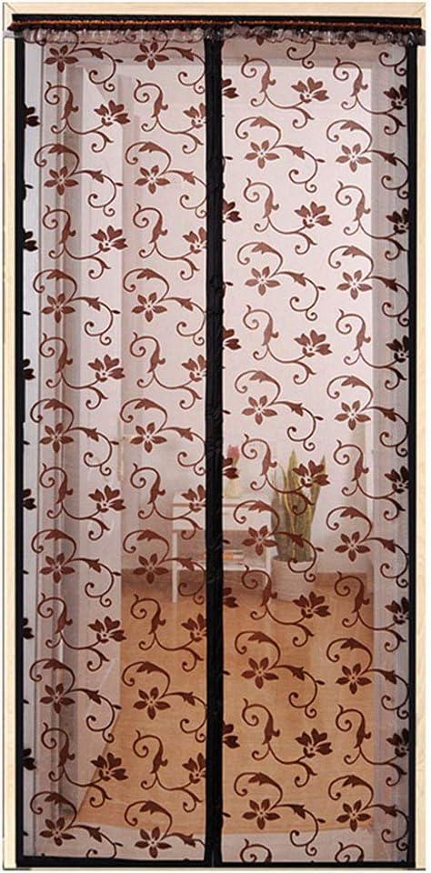 LAIDEPA Cortina De Malla De Ventana De Pantalla De Imán Floral Pequeño De Color Café para Apartamentos con Puerta Principal Y Más, Manos Libres,Se Admiten Mascotas Y Niños,90cm*210cm