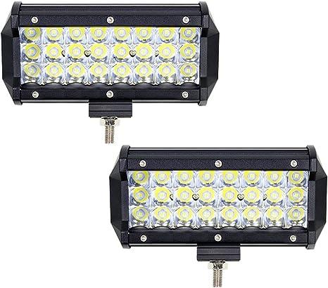 2PCS 7 Pouces 72W Projecteur Phare de Travail LED 6000K 10800LM Feux de Travail Led SPOT Feux Antibrouillard Éclairage IP67 Imperméable Eclairage de
