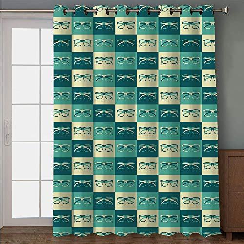 Blackout Patio Door Curtain,Indie,Pattern with Eyeglasses in Vintage Style Hipster Cool Collection Decorative,Petrol Blue Turquoise Cream,for Sliding & Patio Doors, 102